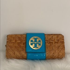 Tory Burch | Wicker & Blue Clutch